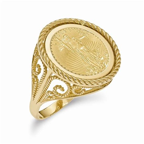 14k gold 21 3mm coin ring with a 22k 1 10 oz