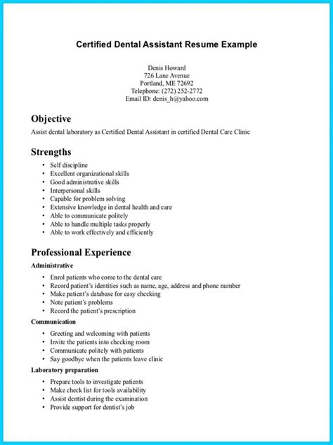 Dental Assistant Level 2 Resume Sle entry level dental assistant resume resume ideas