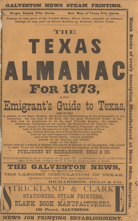 the texas almanac for 1873 and emigrant s guide to texas
