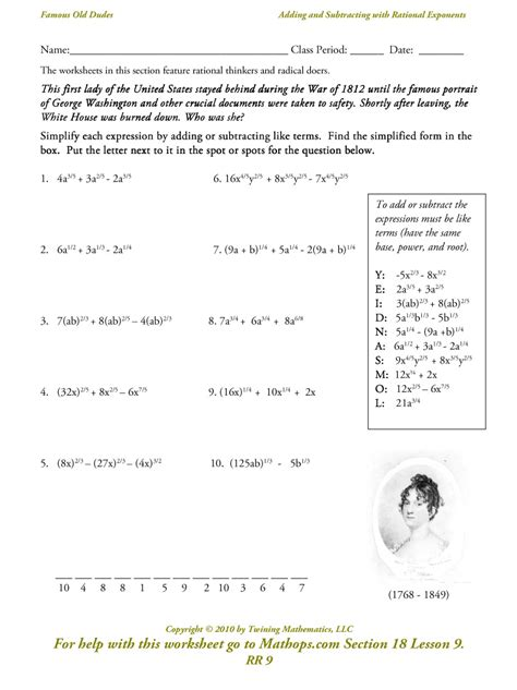 Radicals And Rational Exponents Worksheet Answers by Radicals And Exponents Worksheet Worksheets