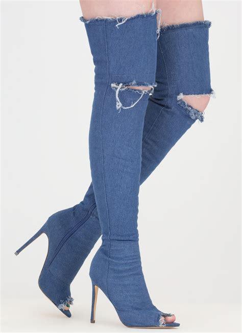 distress signal denim thigh high boots black mediumblue