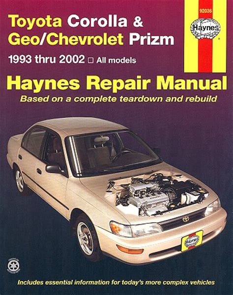 free auto repair manual for a 1993 toyota paseo toyota corolla repair manual service manual online toyota corolla geo chevy prizm repair manual 1993 2002 haynes