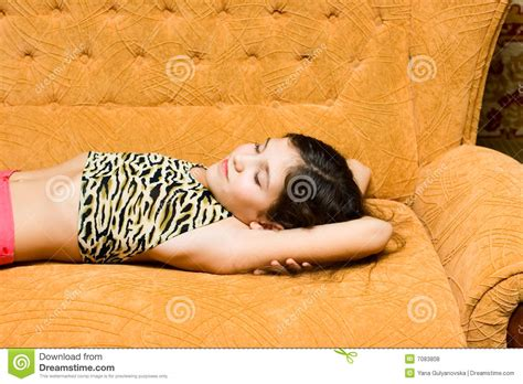 teens have on couch teen girl sleep on sofa royalty free stock photos image
