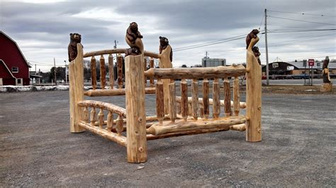 queen log bed handmade carved queen log bed by from the forest inc custommade com