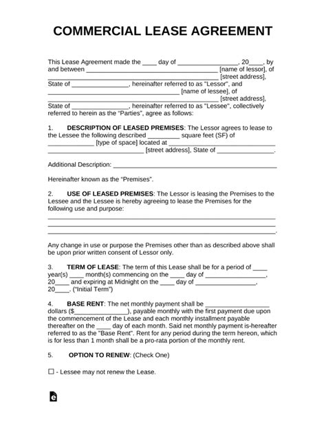 commercial truck lease agreement free commercial rental lease agreement templates pdf