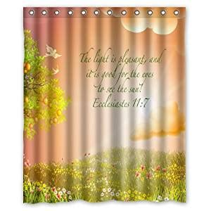 Religious Shower Curtains by Beautiful Christian Bible Verse Flowers Tree