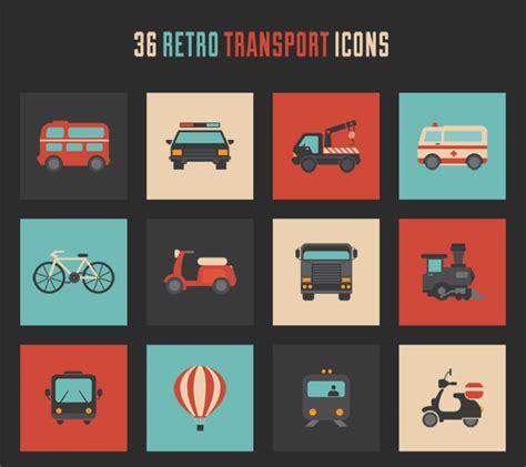 icon design daily freebie retro transport icon set