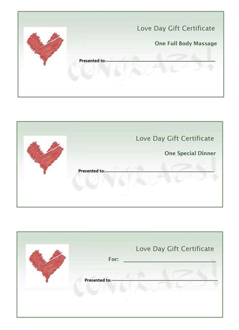 best photos of love gift certificate template free