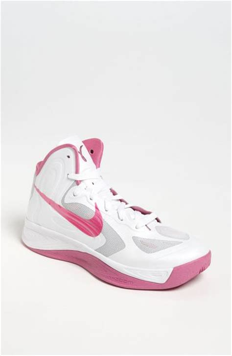 pink and white basketball shoes nike zoom hyperfuse basketball shoe in white white pink