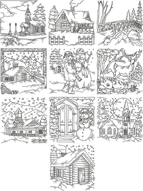 advanced winter coloring pages advanced embroidery designs redwork winter scene set