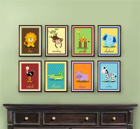 Safari Nursery Artwork Set Of 8 Prints Kids Decor Nursery Jungle Decor