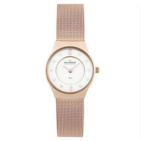 skagen denmark womens steel gold and mesh