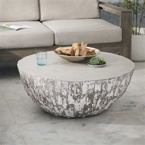 silver grey coffee table sunpan devons rustic concrete grey and brown coffee