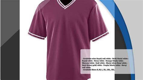 Augusta Wicking V Neck Baseball Jersey Free Design Templates Youtube Baseball Jersey Template Psd