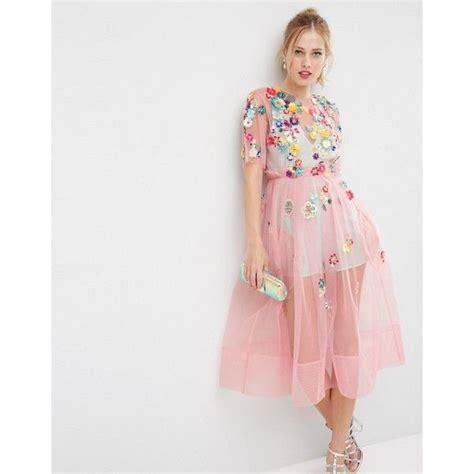 3d Flow Skirt Fashiongrosirmurah Nz90135 asos salon 3d floral embellished midi dress 243 liked on polyvore featuring dresses pink