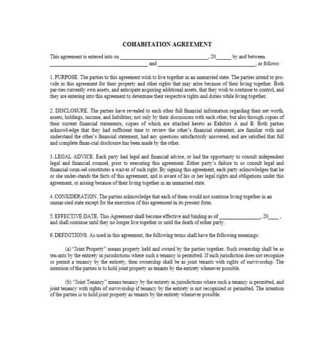 cohabitation agreement template free cohabitation agreement 30 free templates forms