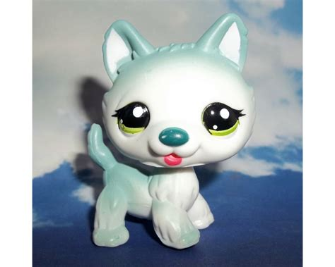 lps dogs littlest pet shop teal blue standing husky 1563 green lps wolf ebay
