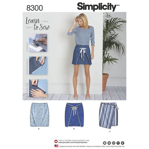 pattern envelope front and back simplicity pattern 8300 misses skirts with front variations