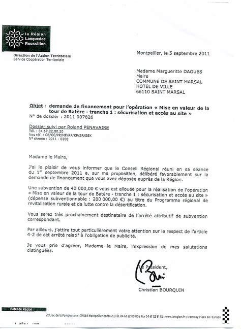 Demande De Financement Lettre Financement De La R 233 Gion Languedoc Roussillon Association De Sauvegarde De La Tour De Batere