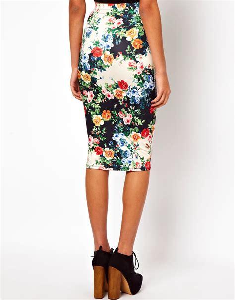 asos asos pencil skirt in floral print at asos