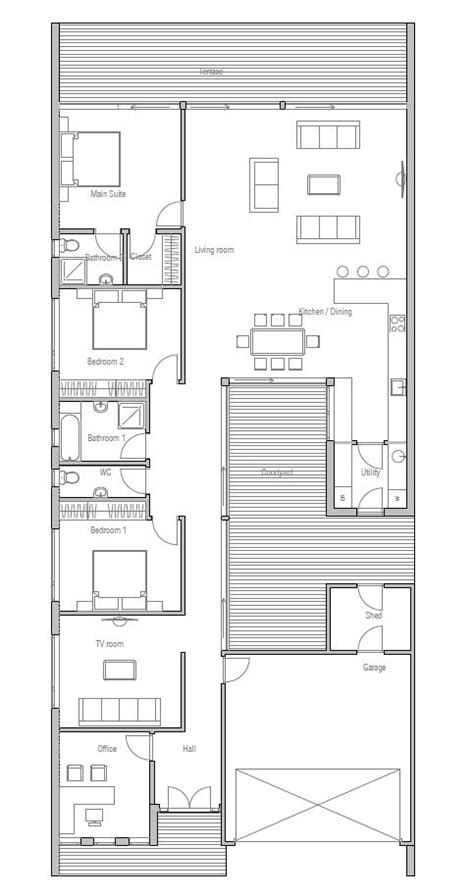 house plan rectangle with courtyard best 25 narrow house plans ideas on pinterest narrow