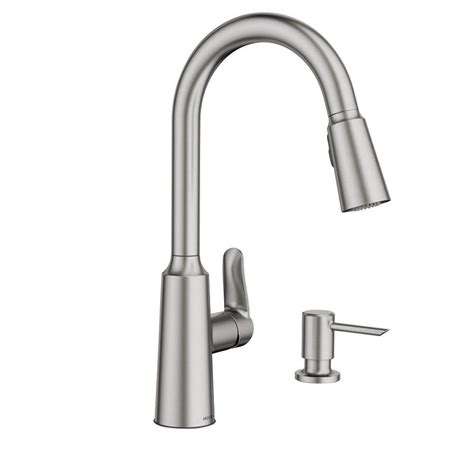 moen pull down kitchen faucet shop moen edwyn spot resist stainless 1 handle pull down