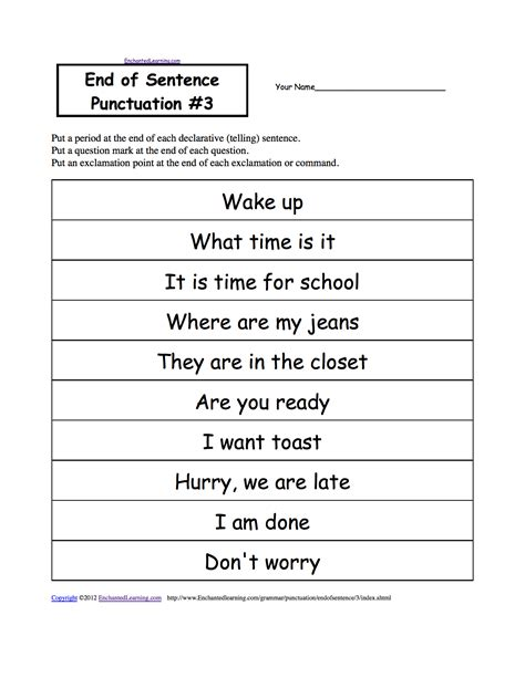 exle of command sentences worksheet end of sentence punctuation printable worksheets enchantedlearning