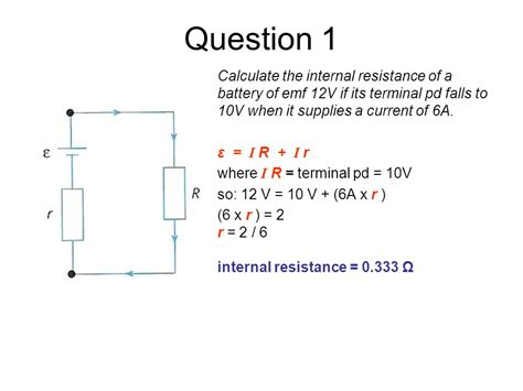 load resistor r is attached to a battery 5 1 electric potential difference current and resistance ppt