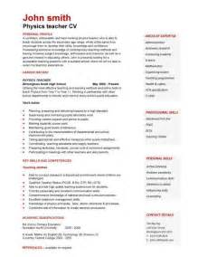 teacher cv template lessons pupils teaching job