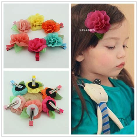 2014 new fashion hair accessories baby beautiful sale new fashion baby hair grips chiffon flowers