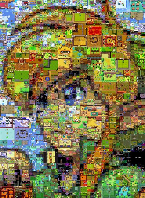 Legend Of Zelda Map Painting | artist creates mosaic of link using images from a variety