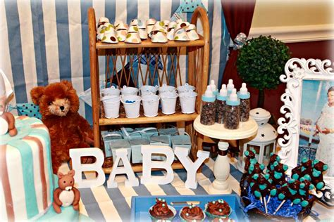 Brown And Blue Baby Shower Decorations by Teddy Baby Shower Blue And Brown