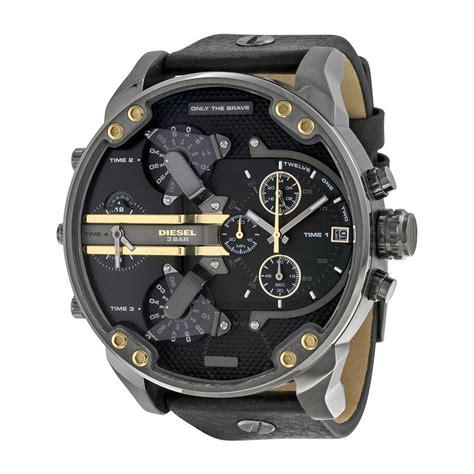 Diesel Black diesel mr 2 0 black black leather s dz7348 diesel watches jomashop