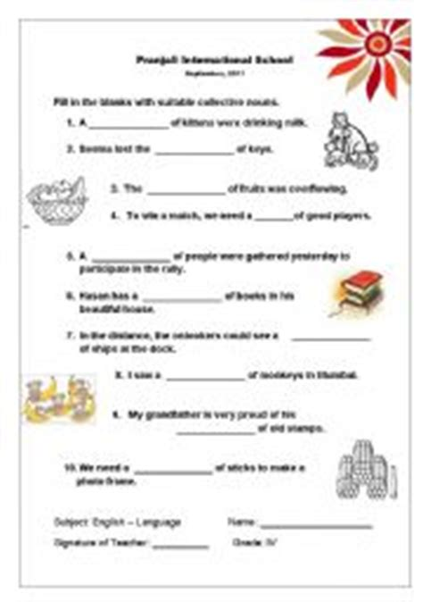 Collective Nouns Worksheets For Grade 6 by Teaching Worksheets Collective Nouns