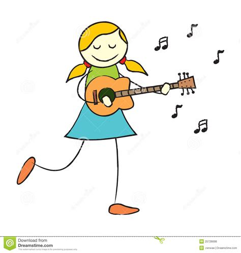 girl playing guitar clip art girl playing guitar stock vector illustration of blond