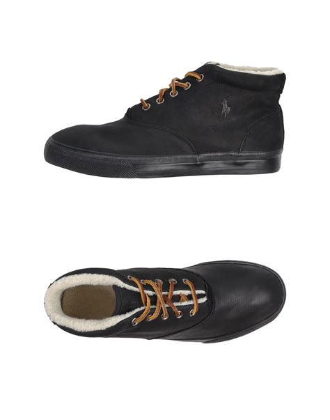 polo high top sneakers polo ralph high tops trainers in black for lyst