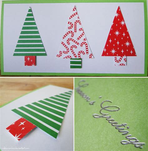 handmade christmas card trees by cakecrumbs on deviantart
