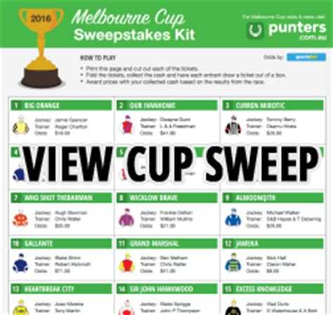 Melbourne Sweepstake - melbourne cup day 2017 race card start time tv coverage