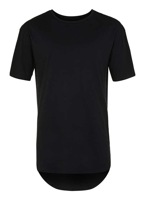 Tshirt Longline black curved hem longline t shirt topman