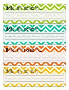 Editable D Nealian Name Tags Chevron Polka Dot Classroom Desk Plates For Students