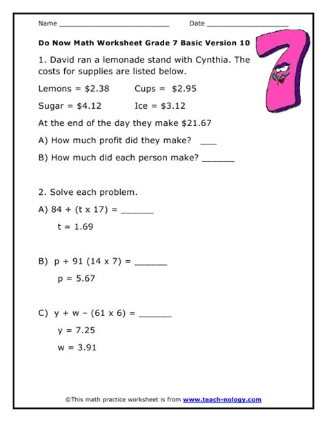 Math Worksheets For Grade 7 by 7 Grade Math Worksheets Printable