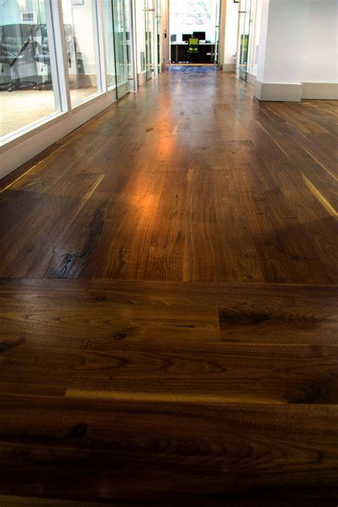 black walnut flooring Home Theater Contemporary with