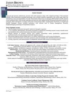 Science Resume Exles by Science And Research Resume Exles
