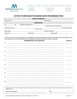 fillable online letter of compliance for marine survey