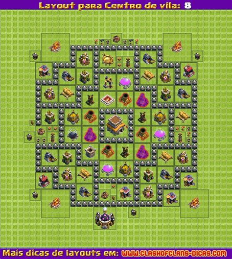 layout de cv 8 push layouts para clash of clans centro de vila 8