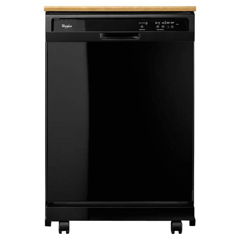 whirlpool portable tub dishwasher in black with 12