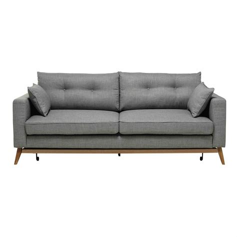 light gray sofa 3 seater fabric sofa bed in light grey maisons du monde