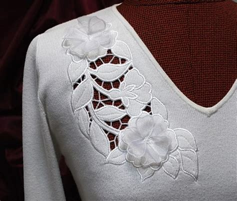 Advanced Embroidery Designs Free Projects And Ideas - cutwork lace on a knit sweater advanced