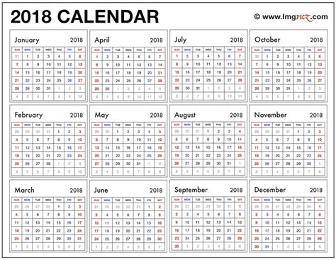 2018 year at a glance calendar template printable for cost free