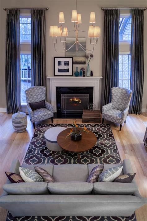 contemporary  story living room  gray accents hgtv